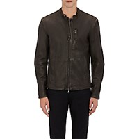 John Varvatos Star U.S.A. Men's Channel Stitched Moto Jacket Dark Green