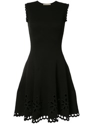 Carolina Herrera Broderie Anglaise Tweed Knit Jacquard Dress Black