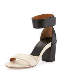 Chloe Two Tone Block Heel Sandal Black White Chloe