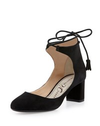 Valentina Carrano Chase Suede Ankle Wrap Pump Black