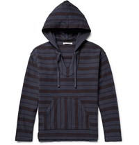 Outerknown Happy Striped Organic Cotton Twill Hoodie Storm Blue