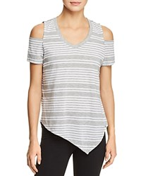 Marc New York Performance Striped Cold Shoulder Tee Light Gray Heather White