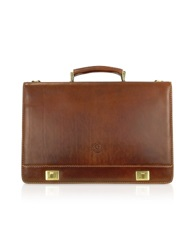 Chiarugi Handmade Brown Genuine Italian Leather Multi Pocket Briefcase