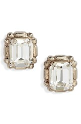 Sorrelli Emerald Cut Crystal Stud Earrings Clear