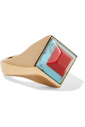 Fendi Gold Tone Stone Ring Xx Small