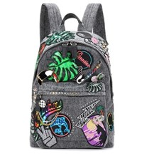 Marc Jacobs Paradise Biker Denim Applique Backpack Grey