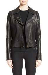 Versace Women's Collection Asymmetrical Zip Leather Jacket
