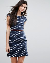 Vero Moda Polka Dot Belted Dress With Capped Sleeves Navy
