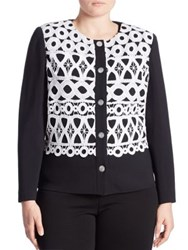 Stizzoli Plus Size Crochet Front Cardigan White Multicolor