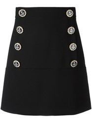 Dolce And Gabbana Nautical Button Skirt Black