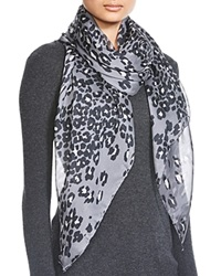 Helene Berman Animal Print Square Scarf Anthracite