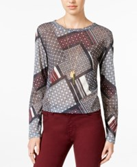 Bar Iii Printed Hacci Top Only At Macy's Egret Combo