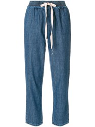 Semicouture Cropped Drawstring Jeans Blue