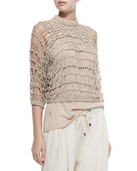 Brunello Cucinelli 3 4 Sleeve Netted Rubberized Pullover Brown
