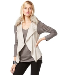Inc International Concepts Faux Fur Trim Draped Vest Only At Macy's Light Crystal Grey