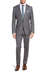 Boss Men's Huge Genius Trim Fit Stripe Wool Suit
