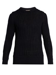 Bottega Veneta Crew Neck Cable Knit Cashmere Blend Sweater Navy