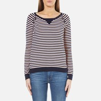 Maison Scotch Women's Basic Pullover With Button Closure At Shoulder Combo E Multi