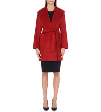 Max Mara Rialto Hooded Camel Hair Coat Red