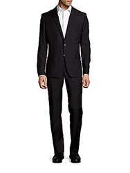 Versace Wool Two Button Patterned Suit Black