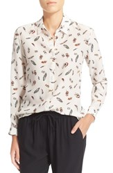 Women's The Kooples Feather Print Silk Blouse