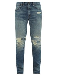 Rrl Distressed Cotton Denim Jeans Mid Blue