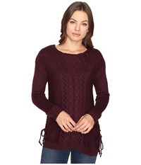 Brigitte Bailey Garnet Pullover W Mixed Cable Lace Cabernet Women's Clothing Burgundy