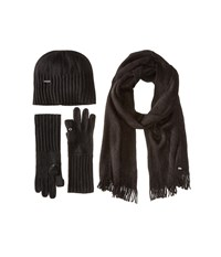 Calvin Klein 3 Piece Set Hat Scarf Flip Tip Glove Black Scarves