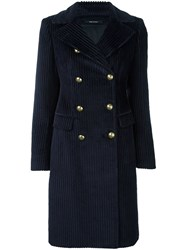 Tagliatore Double Breasted Mid Coat Blue