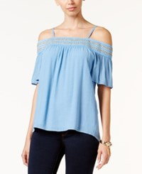 Thalia Sodi Crochet Trim Off The Shoulder Top Only At Macy's Chambray