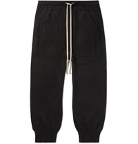 Rick Owens Slim Fit Tapered Cropped Boiled Cashmere Sweatpants Black