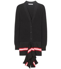 Givenchy Striped Cotton Blend Cardigan Black