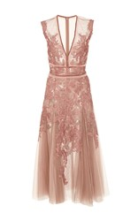 J. Mendel V Neck Applique Dress Pink