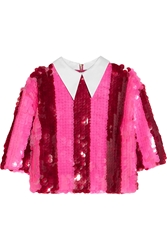 House Of Holland Striped Paillette Embellished Tulle Top
