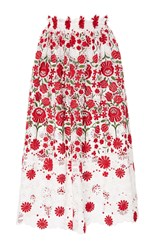 Naeem Khan Floral Embroidered Eyelet Skirt