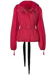Moncler Gamme Rouge Belted Bomber Jacket Red