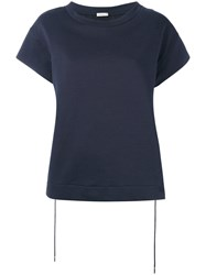 Moncler Drawstring Back T Shirt Women Cotton Polyester Xs Blue