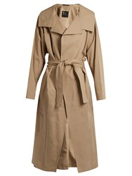 Yohji Yamamoto Distressed Dot Cotton Trench Coat Beige