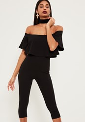 Missguided Black Double Layer Bardot Cropped Jumpsuit