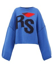 Raf Simons Logo Intarsia Oversized Wool Sweater Blue Multi