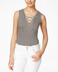 American Rag Lace Up Sleeveless Bodysuit Only At Macy's Classic Black Combo