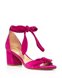 Ivanka Trump Ezra Suede Ankle Tie Mid Block Heel Sandals 100 Bloomingdale's Exclusive Fuschia