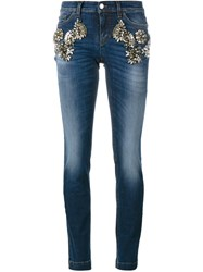 Dolce And Gabbana Crystal Embellished Denim Jeans Blue