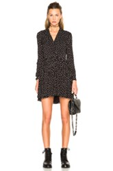 Saint Laurent Bicolor Dot Shirt Dress In Black Geometric Print