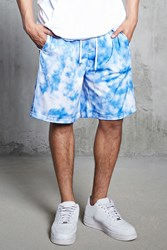 Forever 21 Perforated Tie Dye Shorts Blue White