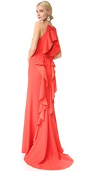 Lela Rose Ruffle Gown Coral