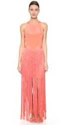 Tamara Mellon Sleeveless Fringe Dress Sunset