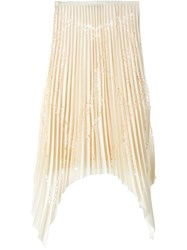 Emilio Pucci Cut Out Detail Pleated Midi Skirt Nude And Neutrals