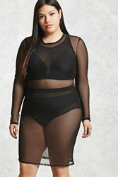 Forever 21 Plus Size Mesh Cover Up Dress Black