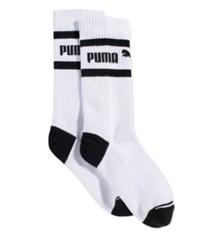 Puma Women's Mid Length Terry Tube Socks White Black